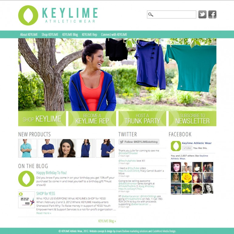 Keylime Athletic Wear Website